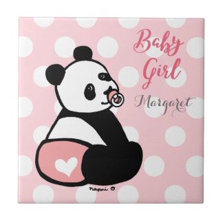Baby Panda Baby Girl in Pink Diaper Tile