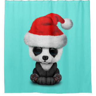 Baby Panda Bear Wearing a Santa Hat