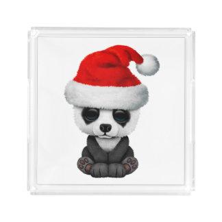 Baby Panda Bear Wearing a Santa Hat Acrylic Tray