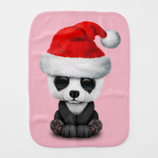 Baby Panda Bear Wearing a Santa Hat Burp Cloth