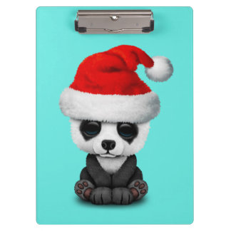 Baby Panda Bear Wearing a Santa Hat Clipboard