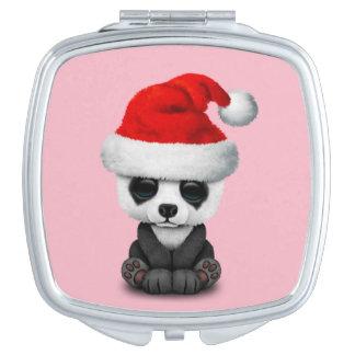Baby Panda Bear Wearing a Santa Hat Compact Mirror