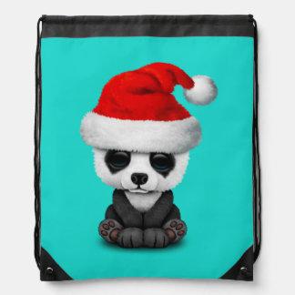 Baby Panda Bear Wearing a Santa Hat Drawstring Bag