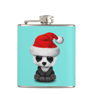 Baby Panda Bear Wearing a Santa Hat Hip Flask