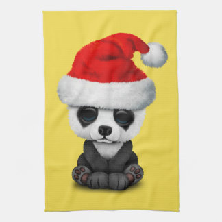 Baby Panda Bear Wearing a Santa Hat Kitchen Towel