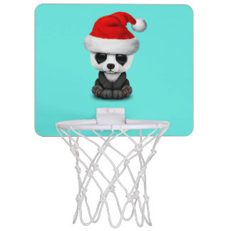 Baby Panda Bear Wearing a Santa Hat Mini Basketball Hoop