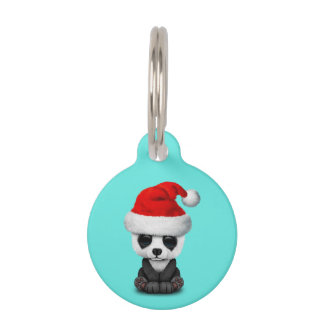 Baby Panda Bear Wearing a Santa Hat Pet Name Tag