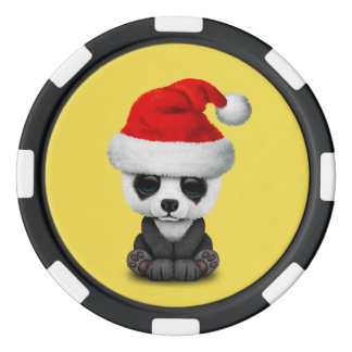 Baby Panda Bear Wearing a Santa Hat Poker Chips