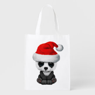 Baby Panda Bear Wearing a Santa Hat Reusable Grocery Bag