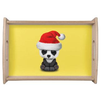 Baby Panda Bear Wearing a Santa Hat Serving Tray