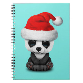 Baby Panda Bear Wearing a Santa Hat Spiral Notebook
