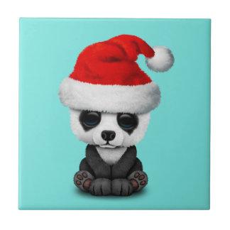 Baby Panda Bear Wearing a Santa Hat Tile