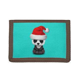 Baby Panda Bear Wearing a Santa Hat Trifold Wallet