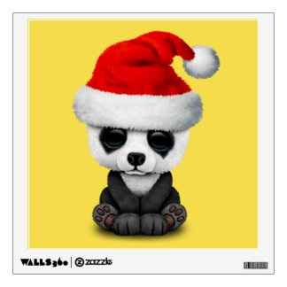 Baby Panda Bear Wearing a Santa Hat Wall Sticker
