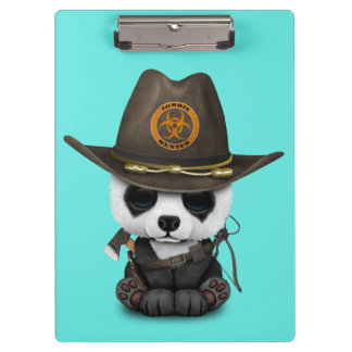 Baby Panda Bear Zombie Hunter Clipboard