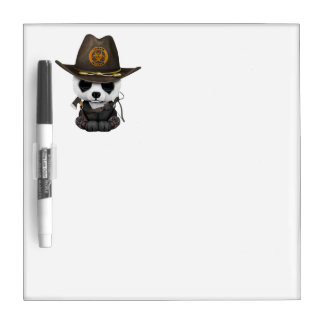 Baby Panda Bear Zombie Hunter Dry Erase Board