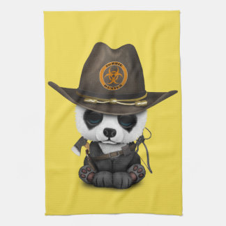 Baby Panda Bear Zombie Hunter Kitchen Towel