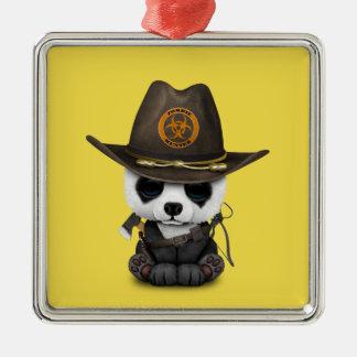 Baby Panda Bear Zombie Hunter Metal Ornament