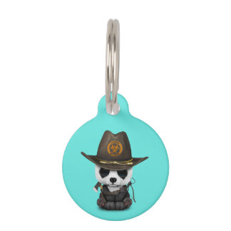 Baby Panda Bear Zombie Hunter Pet Name Tag