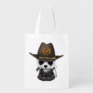 Baby Panda Bear Zombie Hunter Reusable Grocery Bag