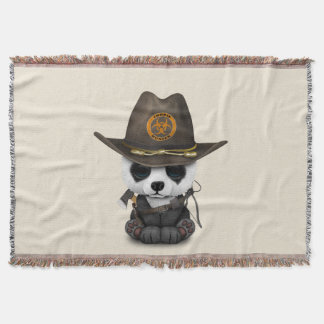 Baby Panda Bear Zombie Hunter Throw Blanket