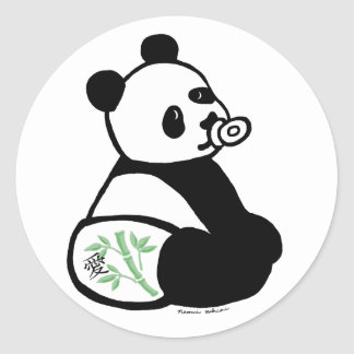 Baby Panda Cartoon Classic Round Sticker