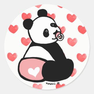 Baby Panda Cartoon Pink Diaper Sticker