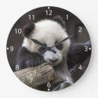 Baby panda climb a tree large clock
