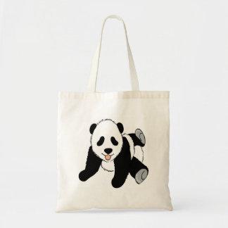 Baby panda cub playing tote bag