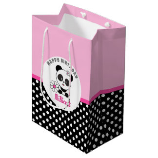 Baby Panda Personalized Birthday Medium Gift Bag