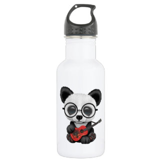 Baby Panda Playing Albanian Flag Guitar 532 Ml Water Bottle