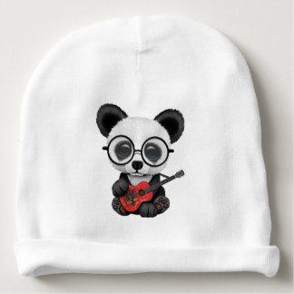 Baby Panda Playing Albanian Flag Guitar Baby Beanie