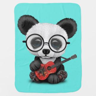 Baby Panda Playing Albanian Flag Guitar Baby Blanket