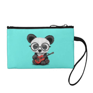 Baby Panda Playing Albanian Flag Guitar Coin Purse