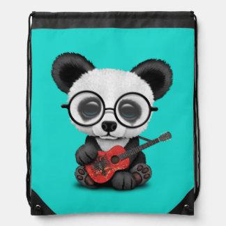 Baby Panda Playing Albanian Flag Guitar Drawstring Bag