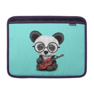 Baby Panda Playing Albanian Flag Guitar MacBook Sleeve