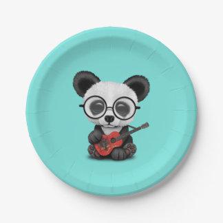 Baby Panda Playing Albanian Flag Guitar Paper Plate