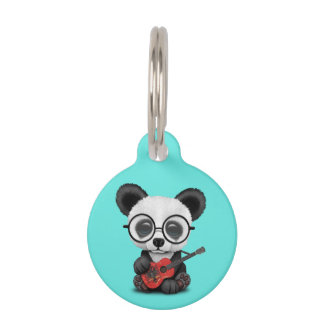 Baby Panda Playing Albanian Flag Guitar Pet ID Tag
