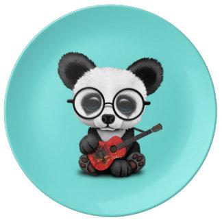 Baby Panda Playing Albanian Flag Guitar Plate
