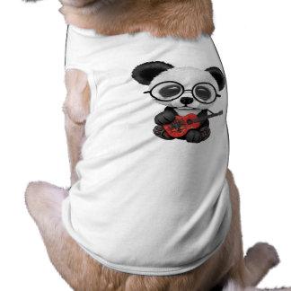 Baby Panda Playing Albanian Flag Guitar Shirt