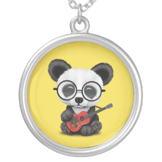 Baby Panda Playing Albanian Flag Guitar Silver Plated Necklace