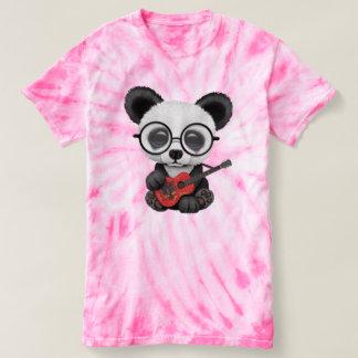 Baby Panda Playing Albanian Flag Guitar T-shirt