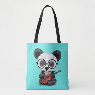 Baby Panda Playing Albanian Flag Guitar Tote Bag