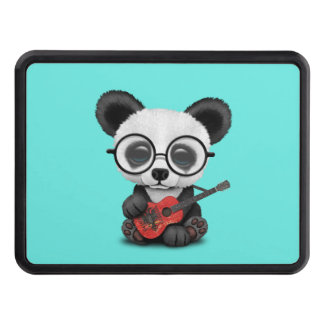 Baby Panda Playing Albanian Flag Guitar Trailer Hitch Cover