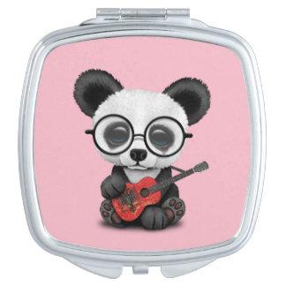 Baby Panda Playing Albanian Flag Guitar Vanity Mirror