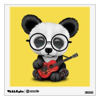 Baby Panda Playing Albanian Flag Guitar Wall Sticker