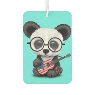 Baby Panda Playing American Flag Guitar Car Air Freshener