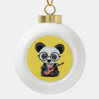 Baby Panda Playing American Flag Guitar Ceramic Ball Christmas Ornament