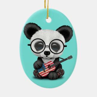 Baby Panda Playing American Flag Guitar Ceramic Ornament