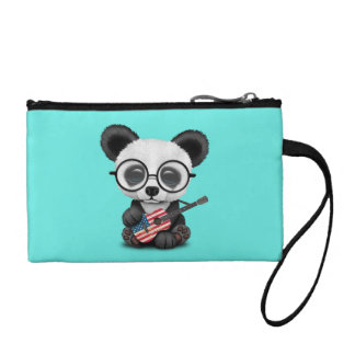 Baby Panda Playing American Flag Guitar Coin Purse